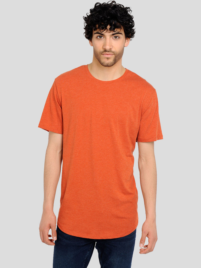 MELANGE LONG FIT T-SHIRT WITH A CURVED HEMLINE Rooibos Tea