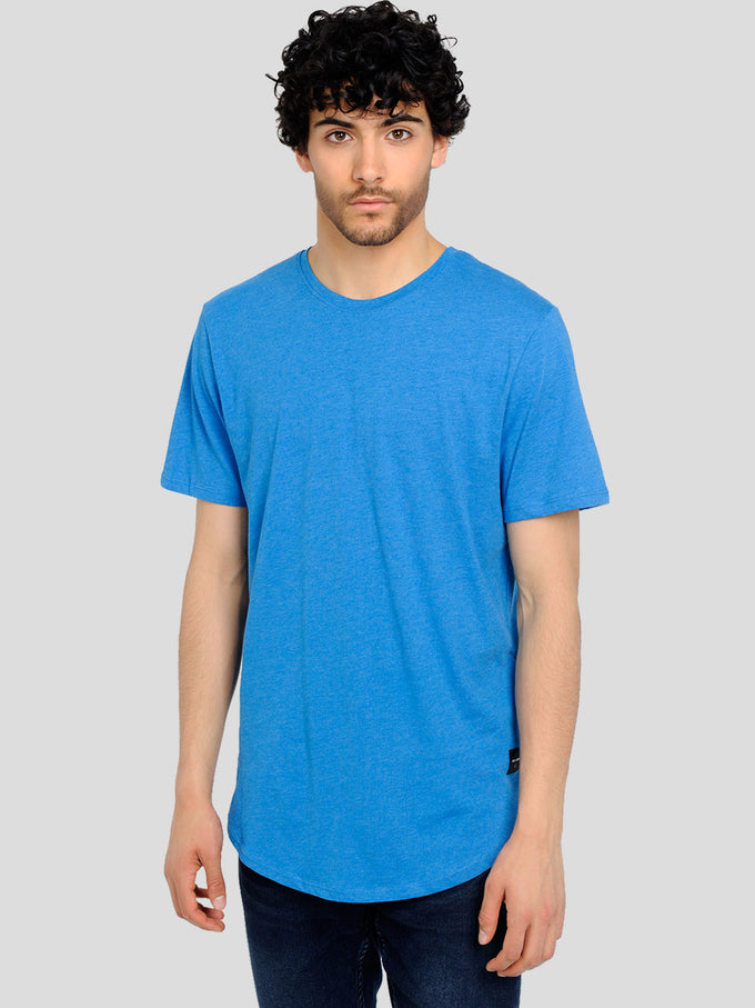 MELANGE LONG FIT T-SHIRT WITH A CURVED HEMLINE Imperial Blue