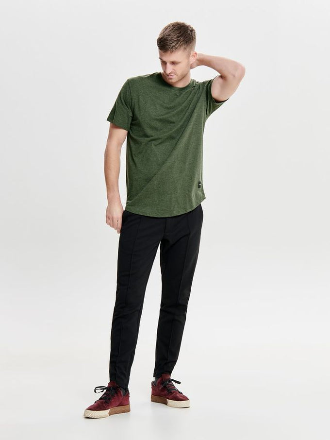 MELANGE LONG FIT T-SHIRT WITH A CURVED HEMLINE Forest Night