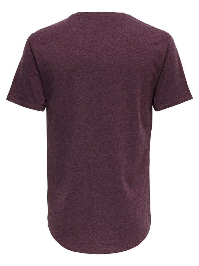MELANGE LONG FIT T-SHIRT WITH A CURVED HEMLINE Winetasting