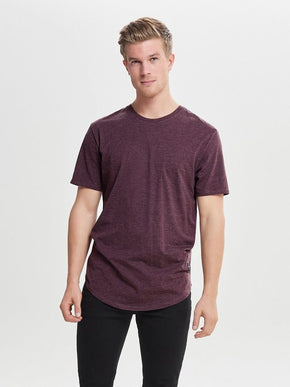 MELANGE LONG FIT T-SHIRT WITH A CURVED HEMLINE