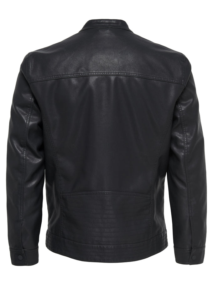 MOTO STYLE FAUX LEATHER JACKET Black