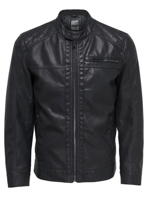 MOTO STYLE FAUX LEATHER JACKET