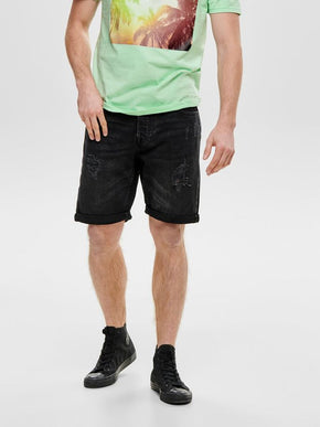 BLACK DENIM SHORTS WITH RIPS