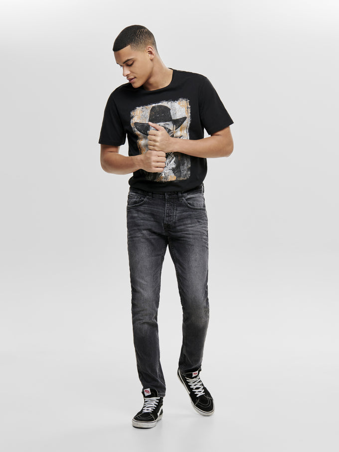REGULAR FIT BLACK WASHED JEANS Black Denim