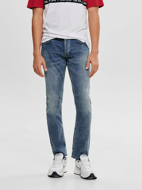 REGULAR FIT BLUE WASHED JEANS