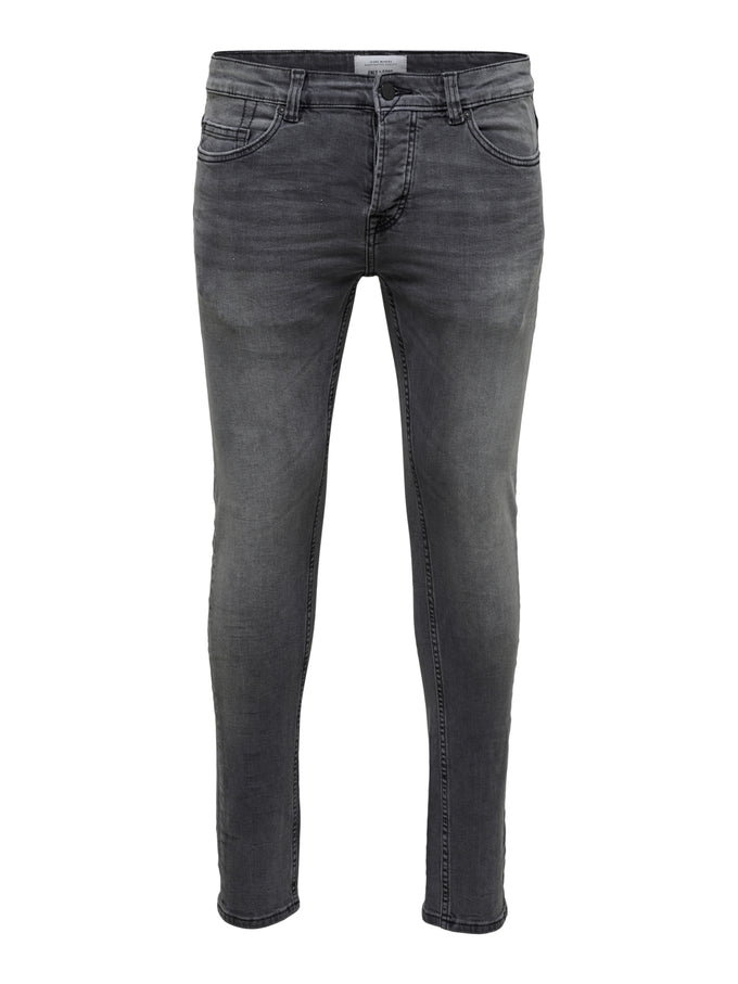 SKINNY FIT GREY WASHED LOOK JEANS Grey Denim