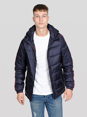 HOODED QUILTED JACKET WITH SIDE STRIPES