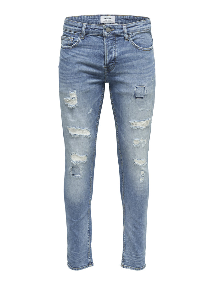 SLIM FIT DESTROYED LIGHT BLUE JEANS Blue Denim