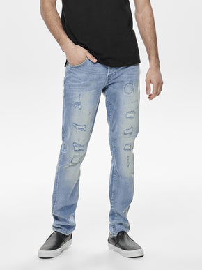 SLIM FIT DESTROYED LIGHT BLUE JEANS