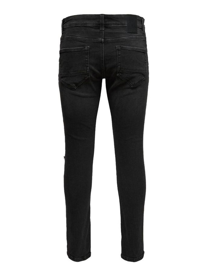 SLIM FIT JEANS WITH OPEN KNEES Black Denim