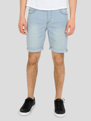 CLASSIC LIGHT BLUE DENIM STRETCH SHORTS