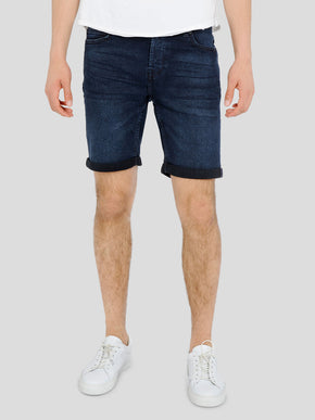 CLASSIC BLUE DENIM STRETCH SHORTS