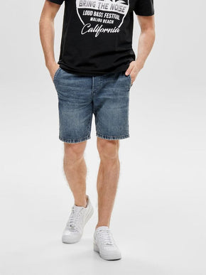 BLUE DENIM SHORTS WITH AN ELASTIC WAISTBAND