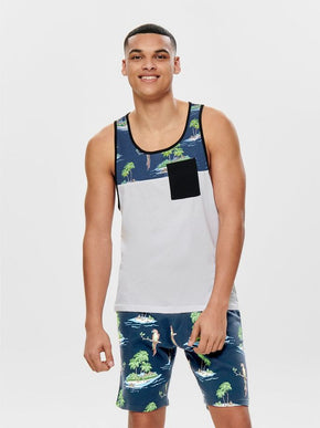 POCKET TANK TOP WITH TROPICAL PRINT