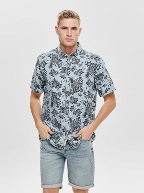 DENIM STYLE TROPICAL SHORT SLEEVE SHIRT