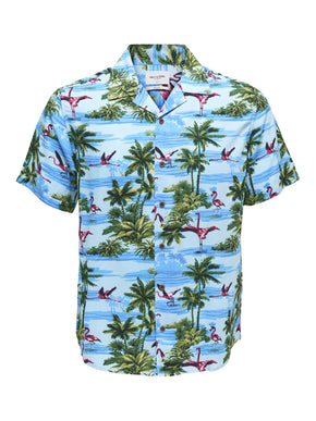 FLAMINGOS & PALM TREES SHORT SLEEVE SHIRT
