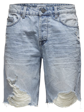 DENIM SHORTS WITH DESTROYED LOOK