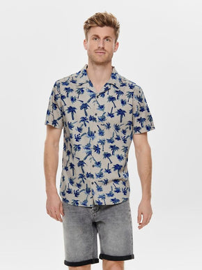 PAINTED PALM PRINT SHORT SLEEVE SHIRT