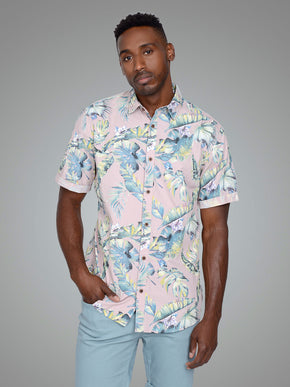 SLIM FIT TROPICAL SHORT SLEEVE SHIRT