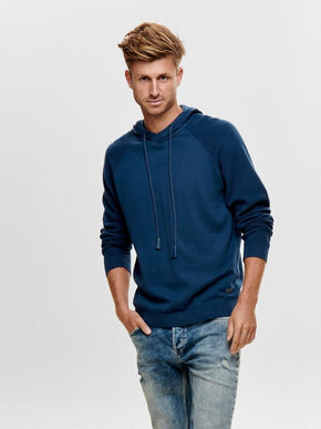 KNIT HOODIE WITH CONTRAST SLEEVES