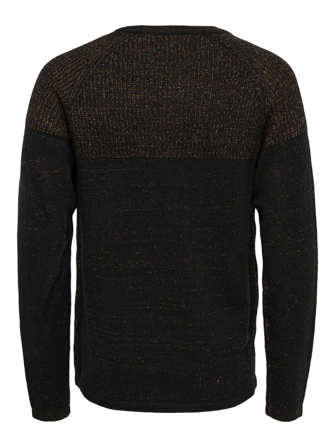 PEER PLATED CREW NECK KNIT Black