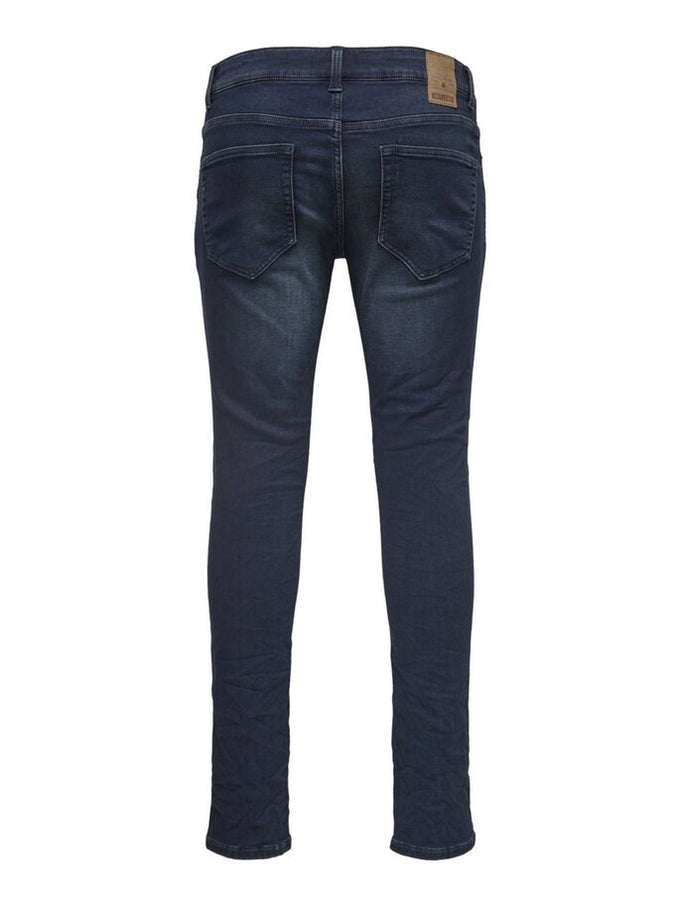 SLIM FIT STRETCH DARK BLUE JEANS Blue Denim