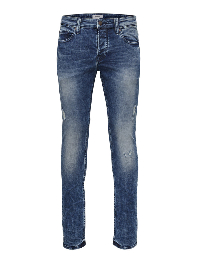 SLIM FIT STRETCH WASHED STYLE JEANS Blue Denim