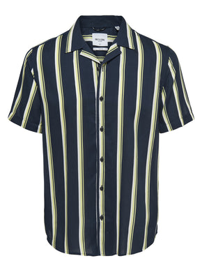 VERTICAL STRIPE RETRO SHORT SLEEVE SHIRT