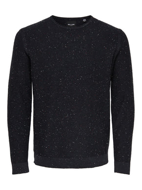 FLECKED SWEATER WITH RAW EDGES