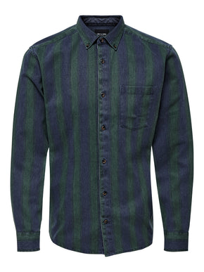 STRIPE WASH TWILL SHIRT