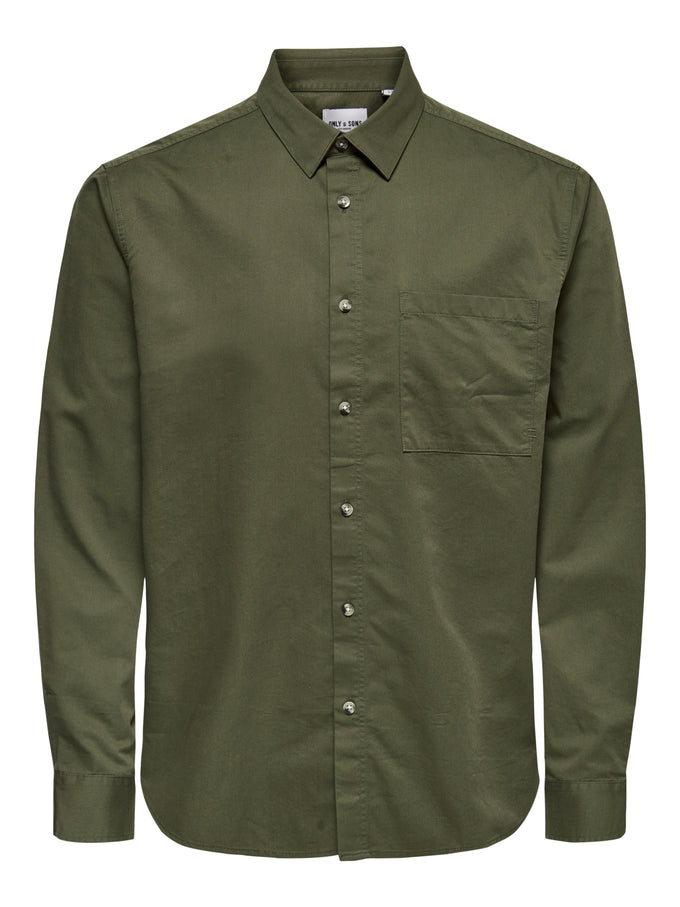 MICHAEL TENCEL SHIRT Olive Night