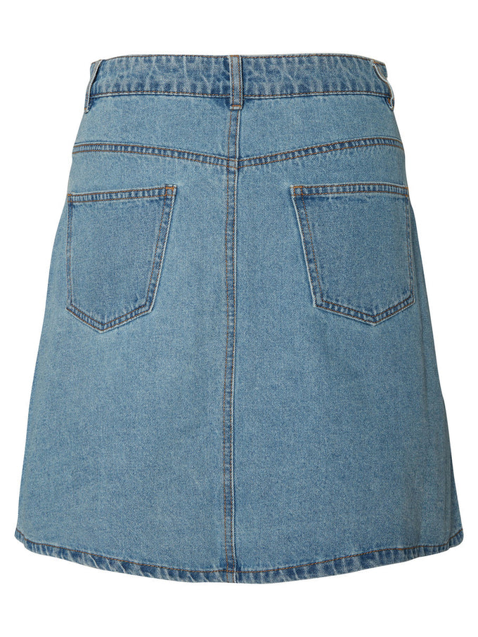 FINAL SALE – SHORT DENIM SKATER SKIRT Light Blue Denim