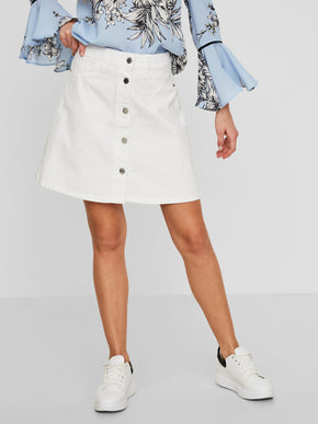 A-LINE WHITE DENIM SKIRT