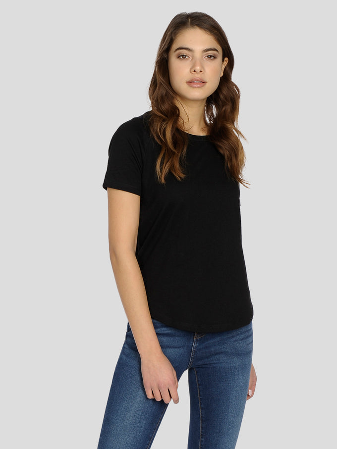 HIGH-LOW BASIC T-SHIRT Black