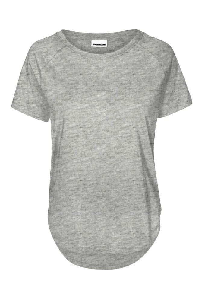 HIGH-LOW BASIC T-SHIRT Light Grey Melange