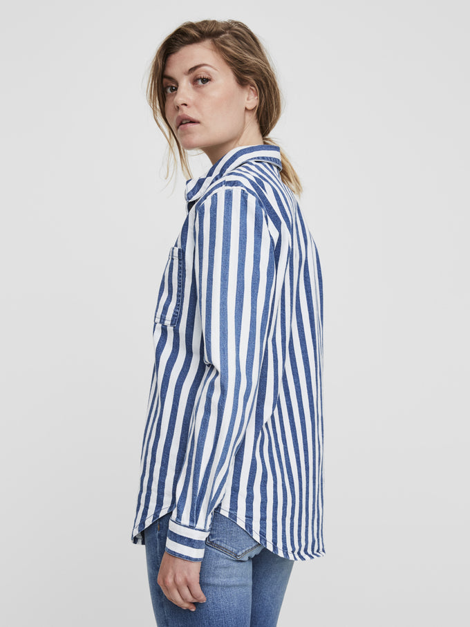 STRIPED BOYFRIEND SHIRT Medium Blue Denim