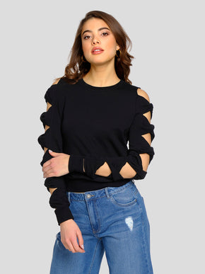 SWEATSHIRT WITH CUT-OUT DETAILS