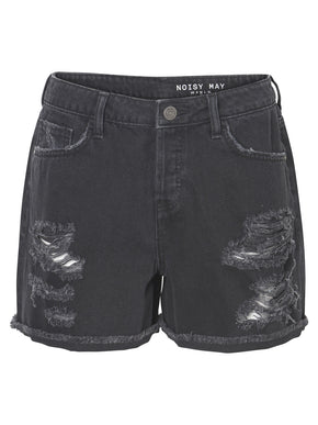 HIGH WAIST DESTROYED BLACK DENIM SHORTS