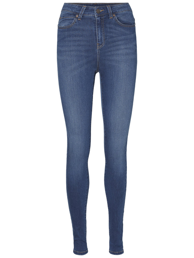 NMLEXI HIGH WAIST SKINNY FIT JEANS Dark Blue Denim