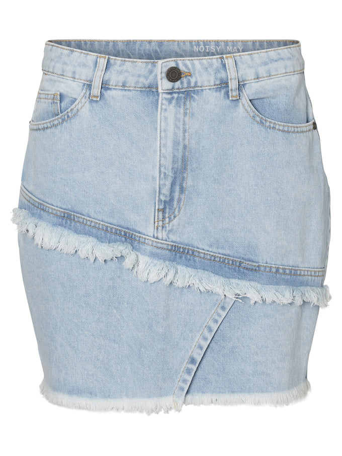 DENIM SKIRT WITH AN ASYMMETRIC DETAIL Light Blue Denim