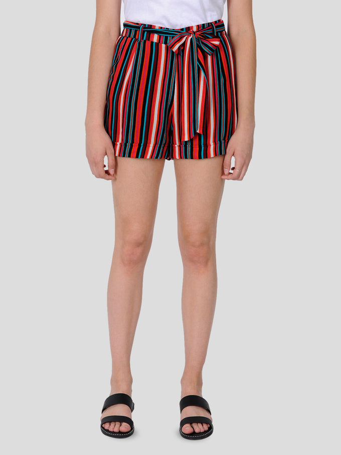 FLUID STRIPED SHORTS Mandarin Red