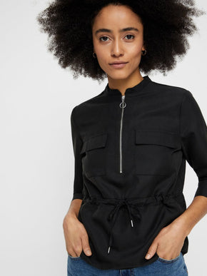 LYOCELL BLOUSE WITH ZIPPER DETAIL