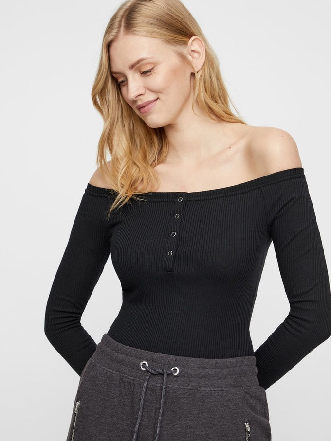 OFF-THE-SHOULDER RIBBED BODYSUIT Black