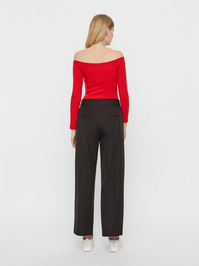 OFF-THE-SHOULDER RIBBED BODYSUIT Chinese Red