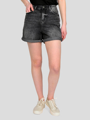 HIGH WAIST BLACK WASHED DENIM SHORTS