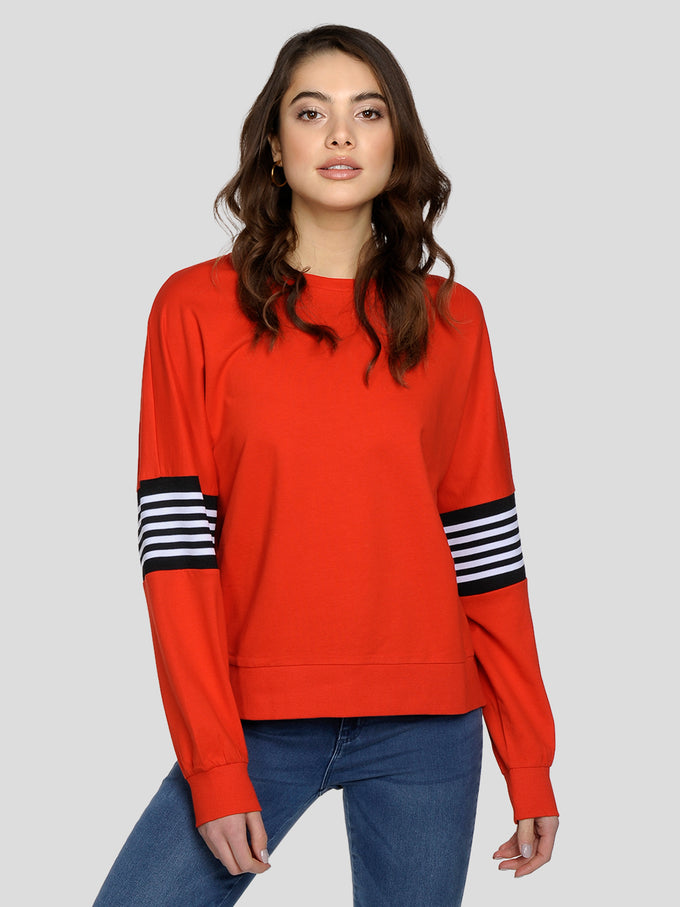 OVERSIZED SWEATSHIRT WITH RIBBED DETAILS Fiery Red