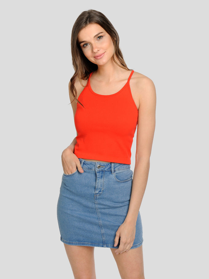 CROPPED RIBBED CAMI Fiery Red