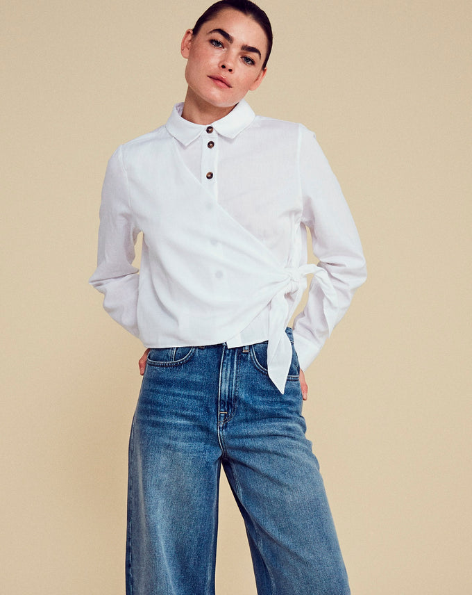 LINEN-BLEND SHIRT Bright White