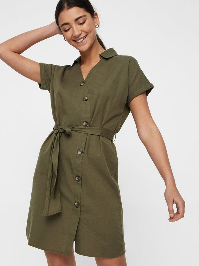 SHIRT-DRESS WITH DECORATIVE BUTTONS Kalamata